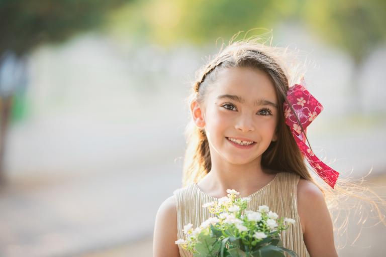 flores, parque, sonrisa, niña