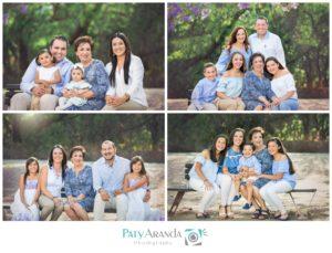 cuatro familias con la abuela en una sesión de fotos