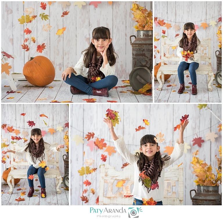 Sesión de fotos de niña aventando hojas de arboles en León, Gto.